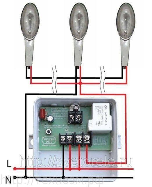 Схемы подключения фотореле и